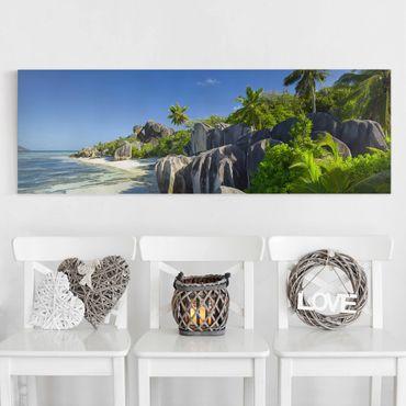 Leinwandbild - Traumstrand Seychellen - Panorama Quer