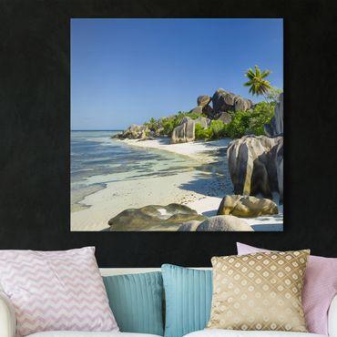 Leinwandbild - Traumstrand Seychellen - Quadrat 1:1