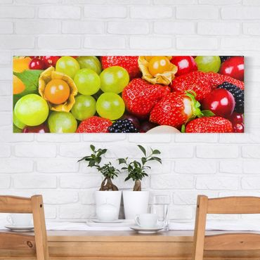 Leinwandbild - Tropical Fruits - Panorama Quer