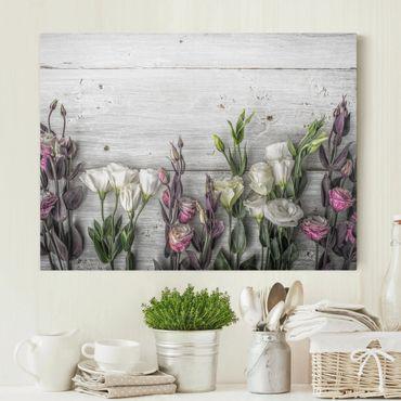 Leinwandbild - Tulpen-Rose Shabby Holzoptik - Quer 4:3
