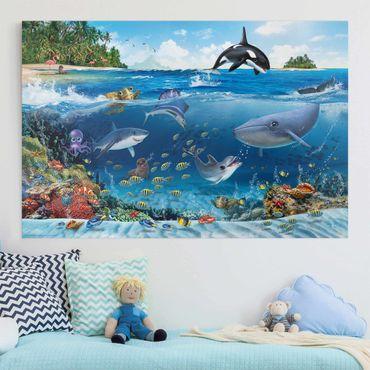 Leinwandbild - Unterwasserwelt mit Tieren - Querformat 3:2