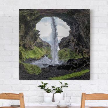 Leinwandbild - Verborgener Wasserfall - Quadrat 1:1
