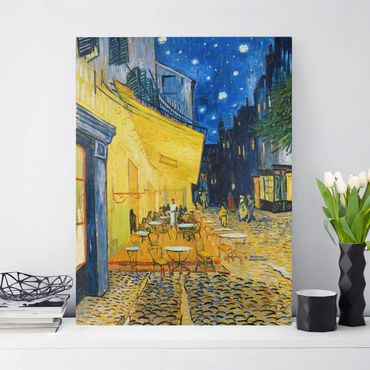 Leinwandbild - Vincent van Gogh - Café-Terrasse am Abend in Arles - Hoch 3:4
