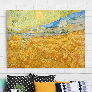 Leinwandbild - Vincent van Gogh - Die Ernte, Kornfeld mit Schnitter - Quer 4:3
