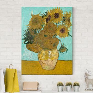Leinwandbild - Vincent van Gogh - Vase mit Sonnenblumen - Hoch 3:4
