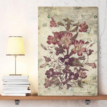 Leinwandbild - Vintage Blütenmuster - Hochformat 2:3