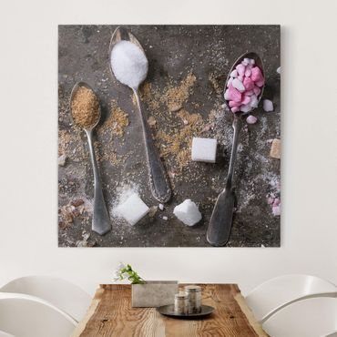 Leinwandbild - Vintage Löffel mit Zucker - Quadrat 1:1
