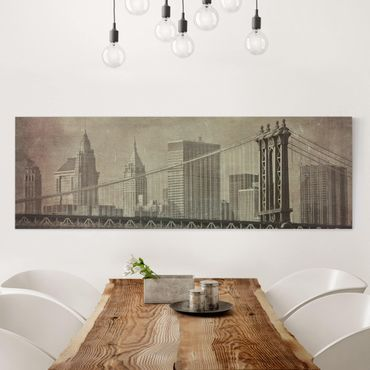 Leinwandbild - Vintage New York City - Panorama Quer
