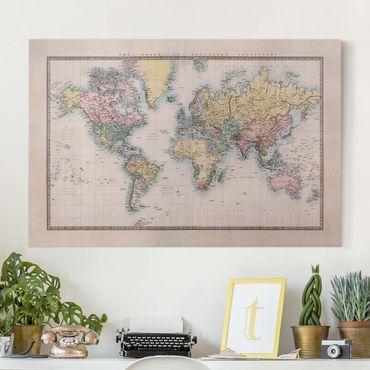 Leinwandbild - Vintage Weltkarte um 1850 - Quer 3:2