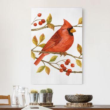 Leinwandbild - Vögel und Beeren - Rotkardinal - Hochformat 3:2