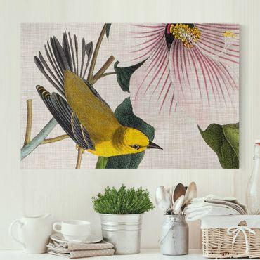 Leinwandbild - Vogel auf Leinen Gelb I - Querformat 2:3