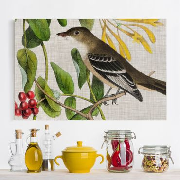 Leinwandbild - Vogel auf Leinen Gelb II - Querformat 2:3