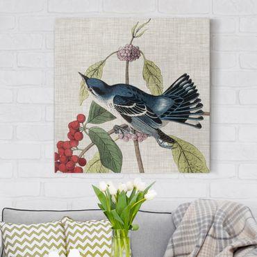 Leinwandbild - Vogel auf Leinen Rosa II - Quadrat 1:1