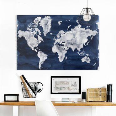 Leinwandbild - Wasser-Weltkarte dunkel - Querformat 2:3