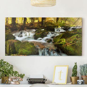Leinwandbild - Wasserfall herbstlicher Wald - Quer 2:1