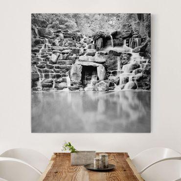 Leinwandbild Schwarz-Weiß - Wasserfall II - Quadrat 1:1