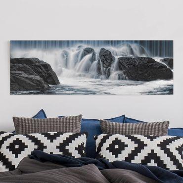 Leinwandbild - Wasserfall in Finnland - Panorama Quer
