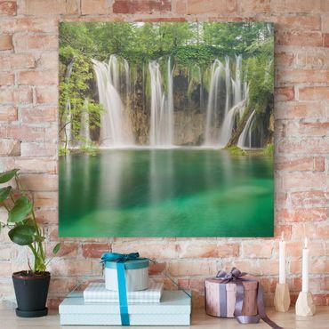 Leinwandbild - Wasserfall Plitvicer Seen - Quadrat 1:1