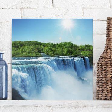 Leinwandbild - Wasserfalllandschaft - Quadrat 1:1