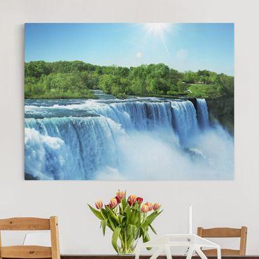 Leinwandbild - Wasserfalllandschaft - Quer 4:3