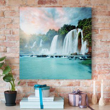 Leinwandbild - Wasserfallpanorama - Quadrat 1:1