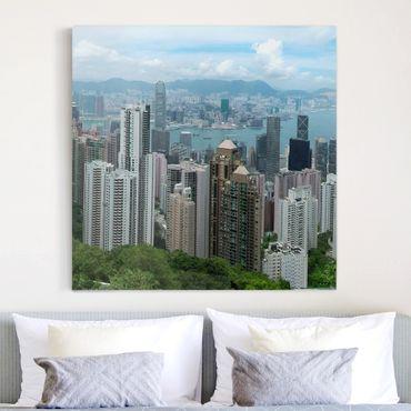 Leinwandbild - Watching HongKong - Quadrat 1:1