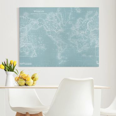 Leinwandbild - Weltkarte in Eisblau - Querformat 3:4