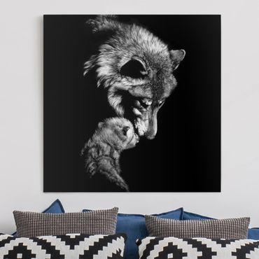 Leinwandbild - Wolf vor Schwarz - Quadrat 1:1