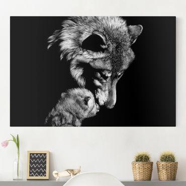Leinwandbild - Wolf vor Schwarz - Querformat 2:3
