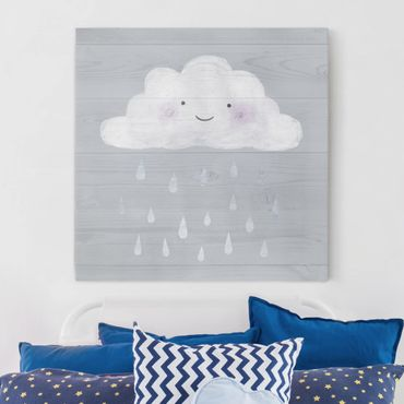 Leinwandbild - Wolke mit silbernen Regentropfen - Quadrat 1:1