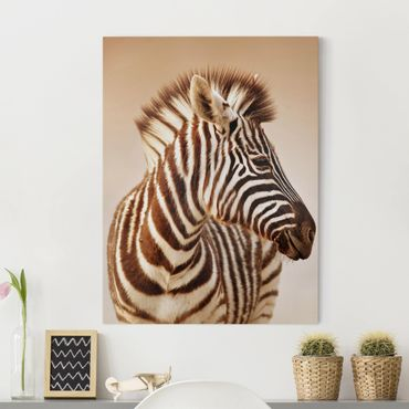 Leinwandbild - Zebra Baby Portrait - Hoch 3:4