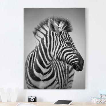 Leinwandbild Schwarz-Weiß - Zebra Baby Portrait II - Hoch 3:4
