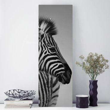 Leinwandbild Schwarz-Weiß - Zebra Baby Portrait II - Panoramabild Hoch