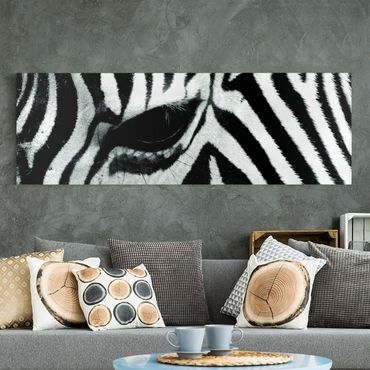 Leinwandbild Schwarz-Weiß - Zebra Crossing No.4 - Panoramabild Quer