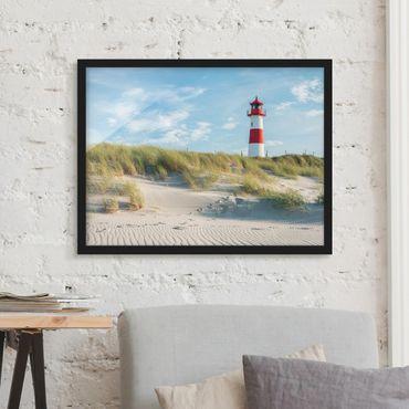 Bild mit Rahmen - Leuchtturm an der Nordsee - Querformat