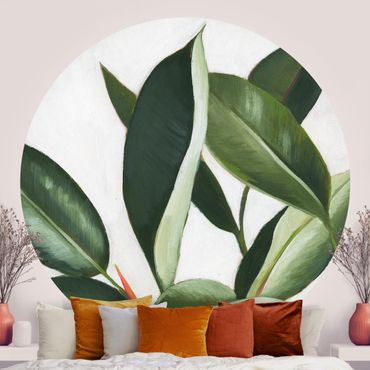 Runde Tapete selbstklebend - Lieblingspflanzen - Gummibaum