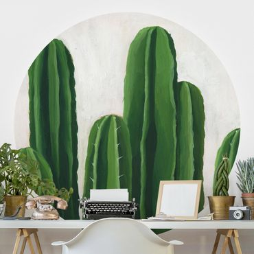 Runde Tapete selbstklebend - Lieblingspflanzen - Kaktus
