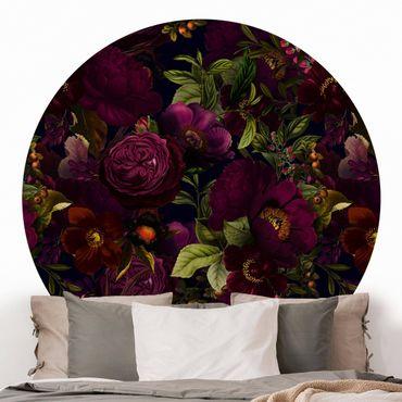 Runde Tapete selbstklebend - Lila Blüten Dunkel