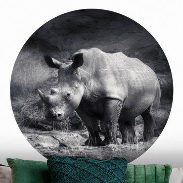 Runde Tapete selbstklebend - Lonesome Rhinoceros