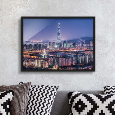 Bild mit Rahmen - Lotte World Tower bei Nacht - Querformat