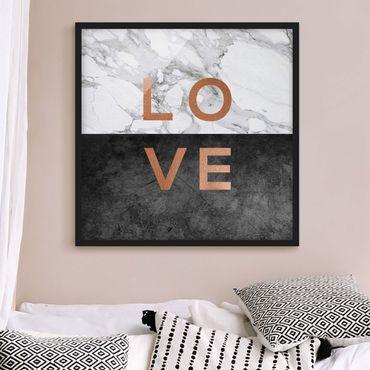 Bild mit Rahmen - Love Kupfer und Marmor - Quadrat
