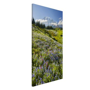 Magnettafel - Bergwiese mit Blumen vor Mt. Rainier - Memoboard Hoch