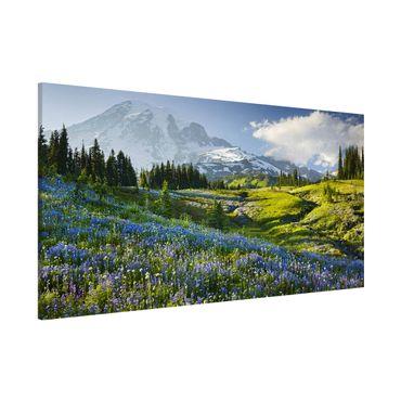 Magnettafel - Bergwiese mit Blumen vor Mt. Rainier - Memoboard Panorama Querformat