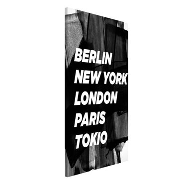 Magnettafel - Berlin New York London - Memoboard Hochformat