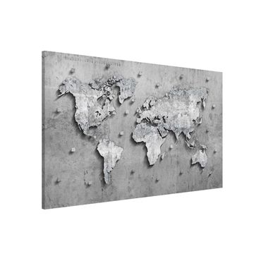 Magnettafel - Beton Weltkarte - Memoboard Querformat
