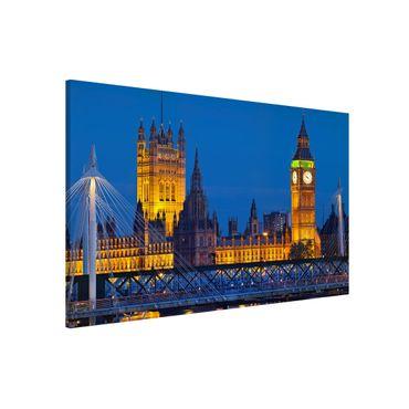 Magnettafel - Big Ben und Westminster Palace in London bei Nacht - Memoboard Quer