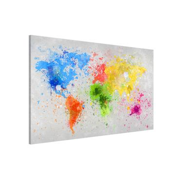 Magnettafel - Bunte Farbspritzer Weltkarte - Memoboard Quer