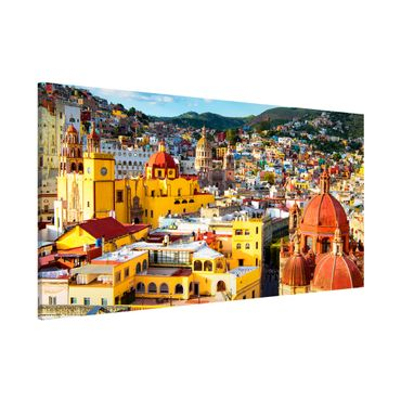 Magnettafel - Bunte Häuser Guanajuato - Memoboard Panorama Quer