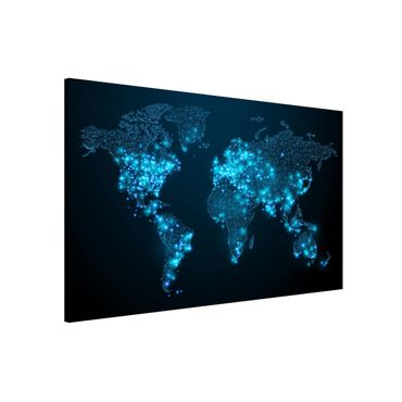 Magnettafel - Connected World Weltkarte - Memoboard Querformat