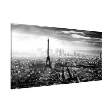 Magnettafel - Der Eiffelturm von Oben Schwarz-weiß - Memoboard Panorama Querformat 1:2